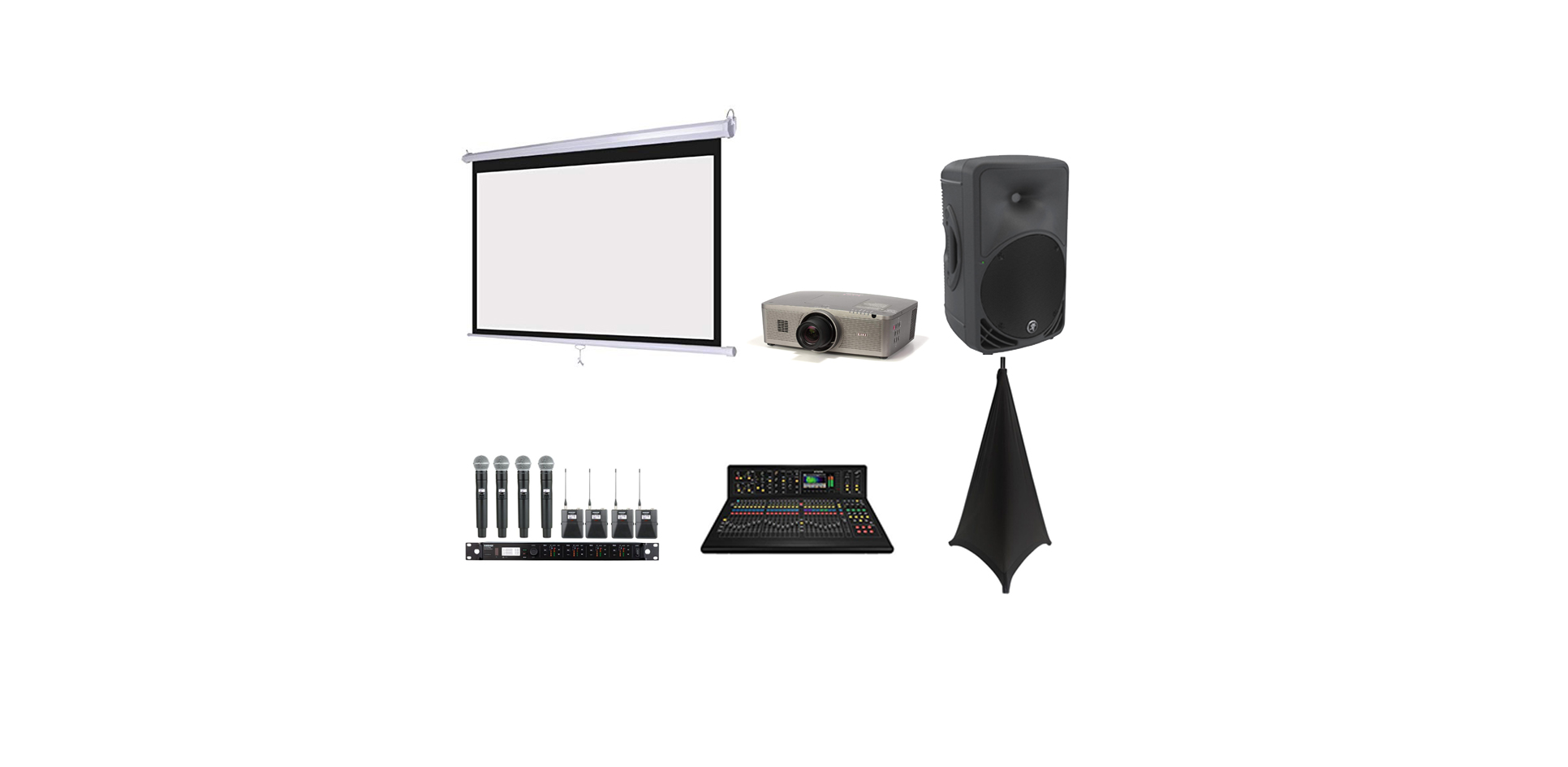PRojector/Screen AV package with mics