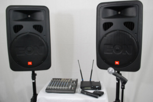 • Includes one to two speakers, wireless microphone, and mixer