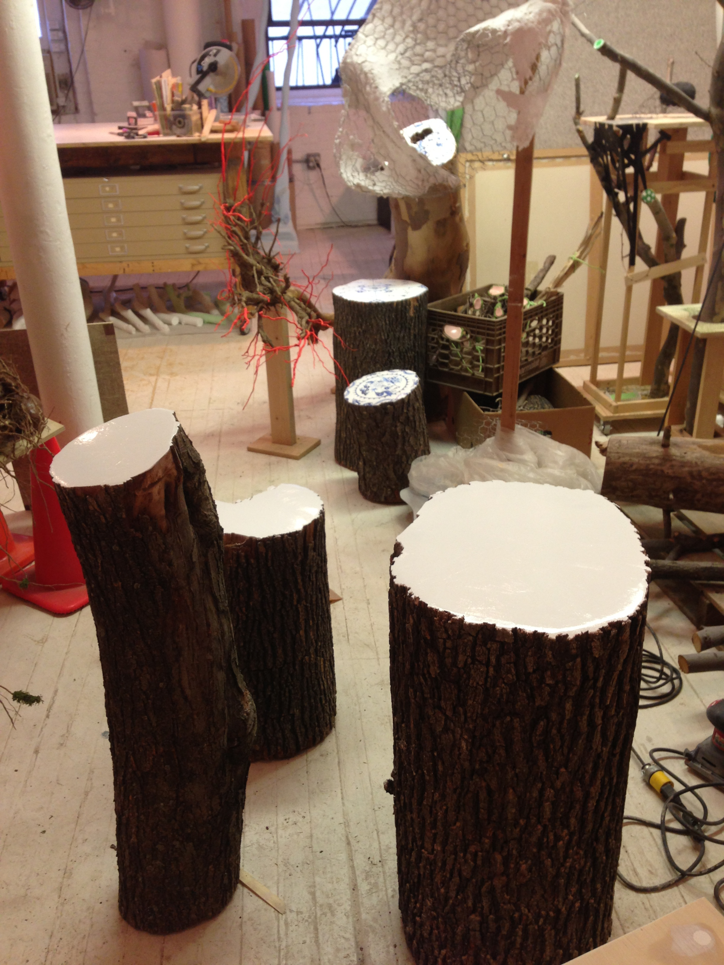 Stumps coated with white acrylic paint