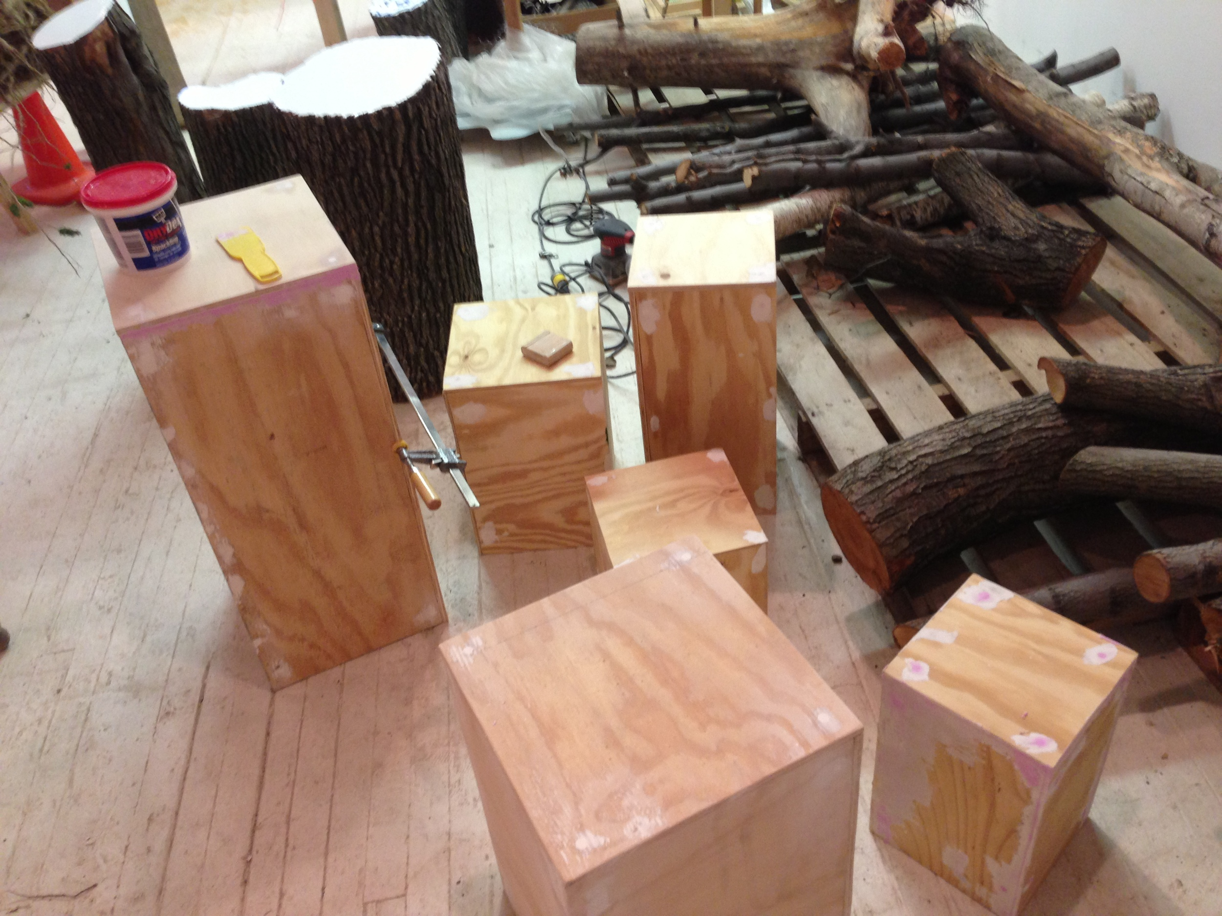Wooden pedestals for small detailed artwork