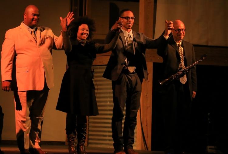 Abner Genece, Malesha Jesse, Gerard Joseph, and Kamau Kenyatta in  Invisible People (A Radio Opera)  at Space 4 Art, San Diego, September 27, 2013. (Photo: Yonatan Aljadeff)