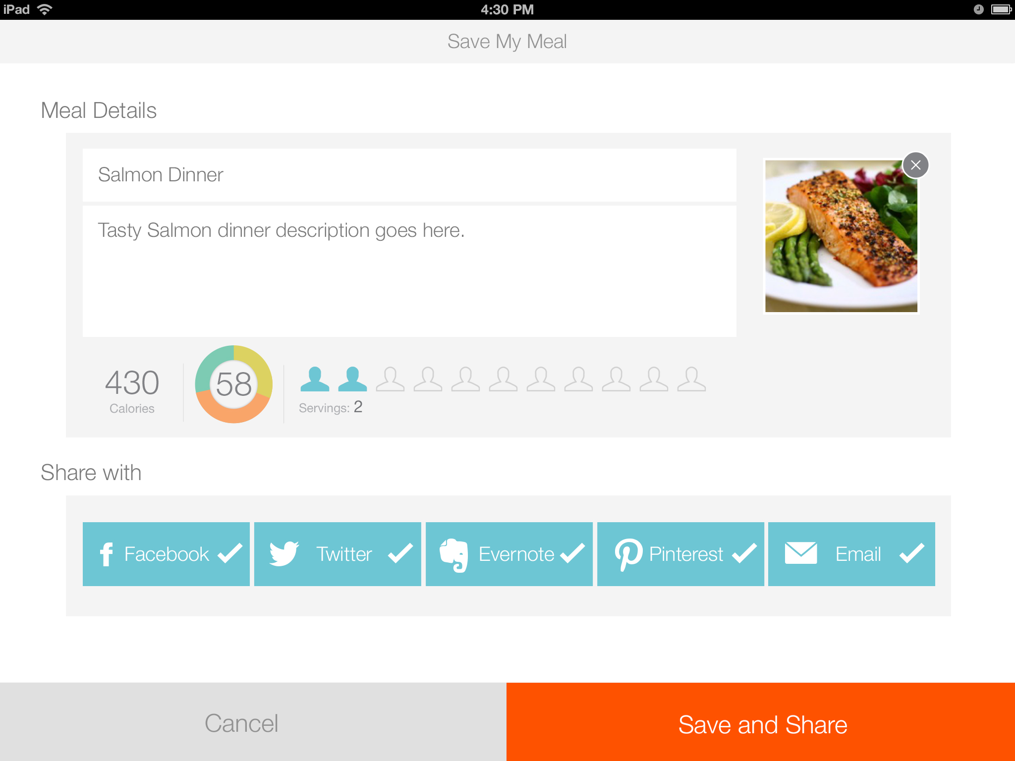 Share meal card pushes content to your favorite social platforms