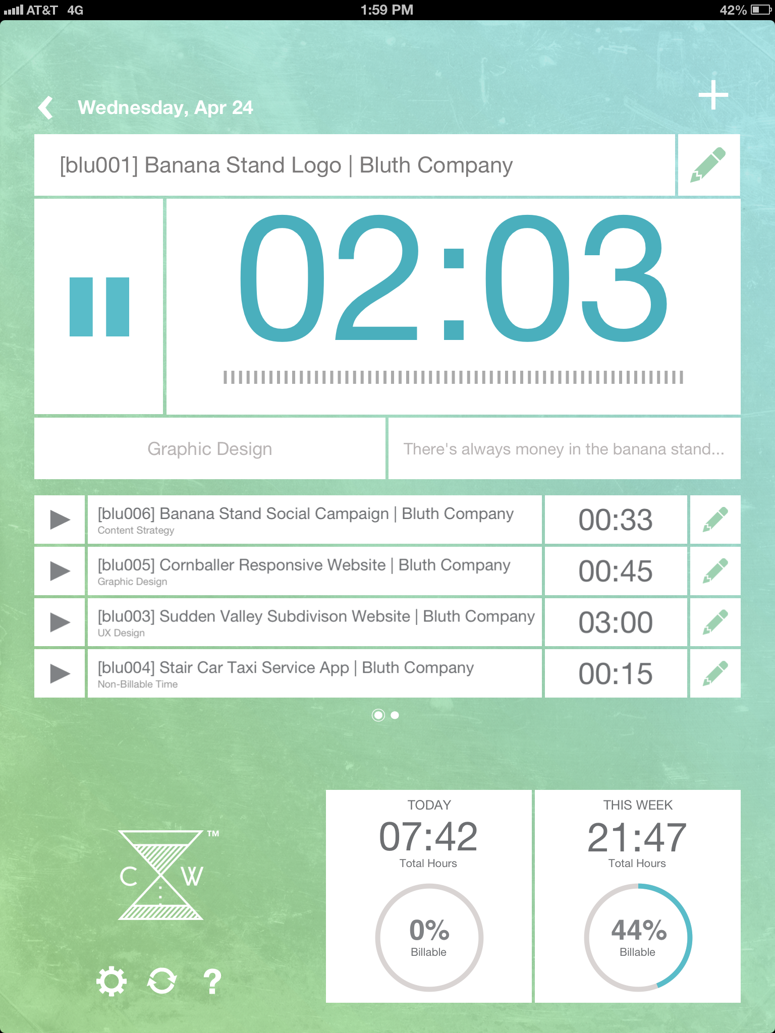 ClockWork dashboard screen