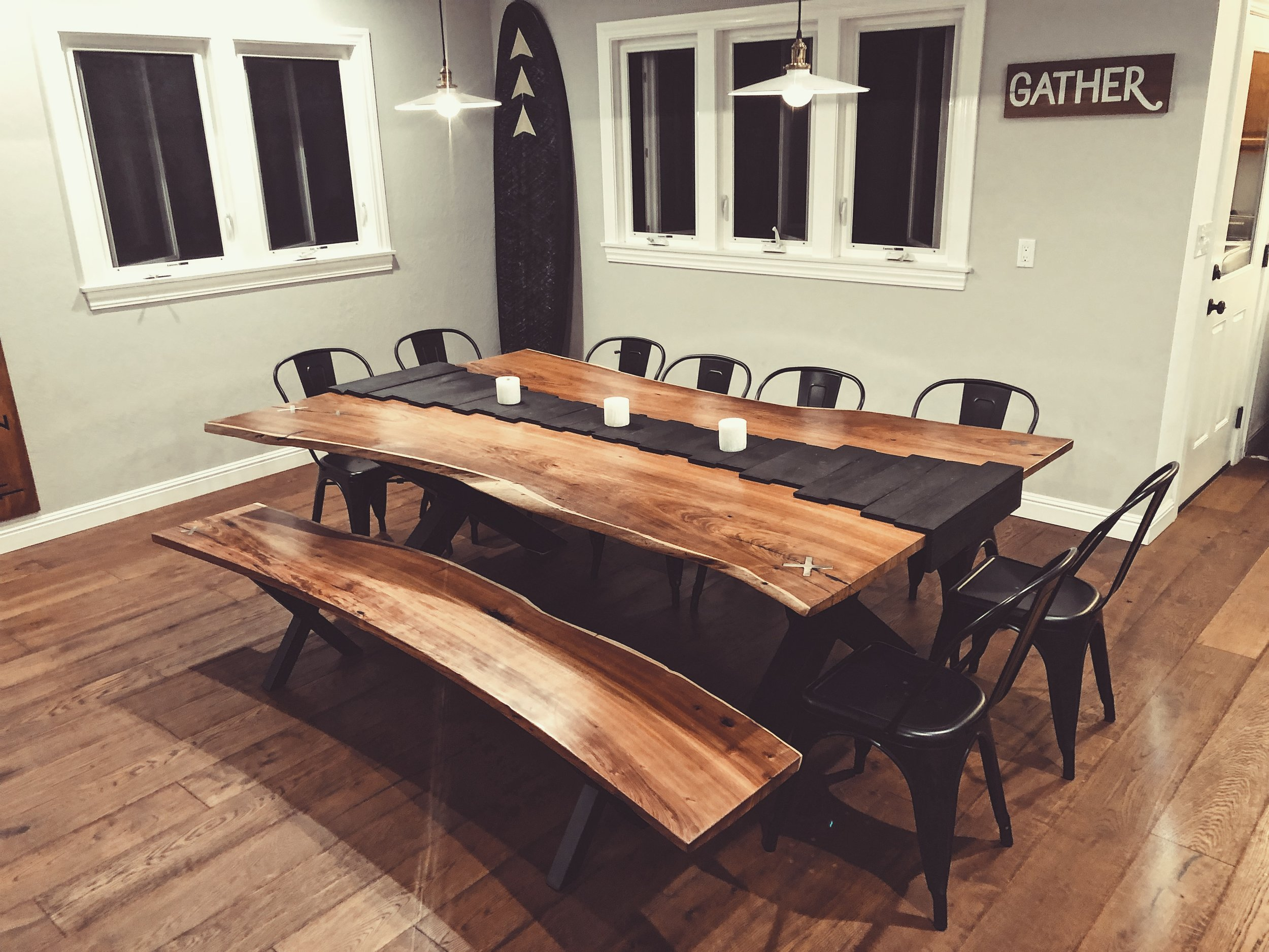 Acacia Live Edge Dinning Table - This project proved to be a test of patience and perseverance. It took countless hours to source the acacia slabs, plane them flat, sand them smooth, hand chisel the inlays and make the custom steel legs. Now this labor of love is the centerpiece for our family meals and memories.