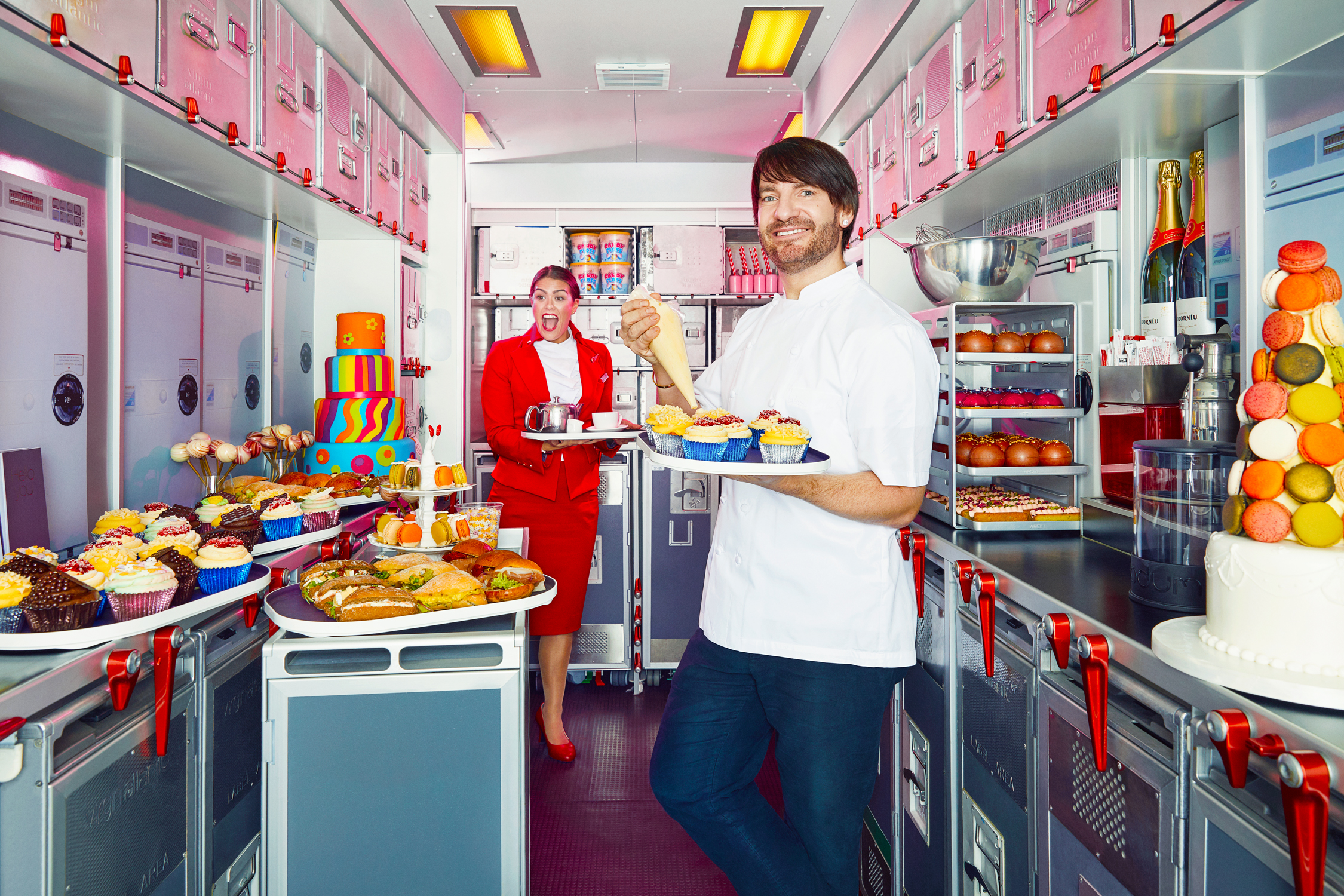 Patissier Eric Lanlard, creator of VA's onboard high tea, photographed for Virgin Atlantic