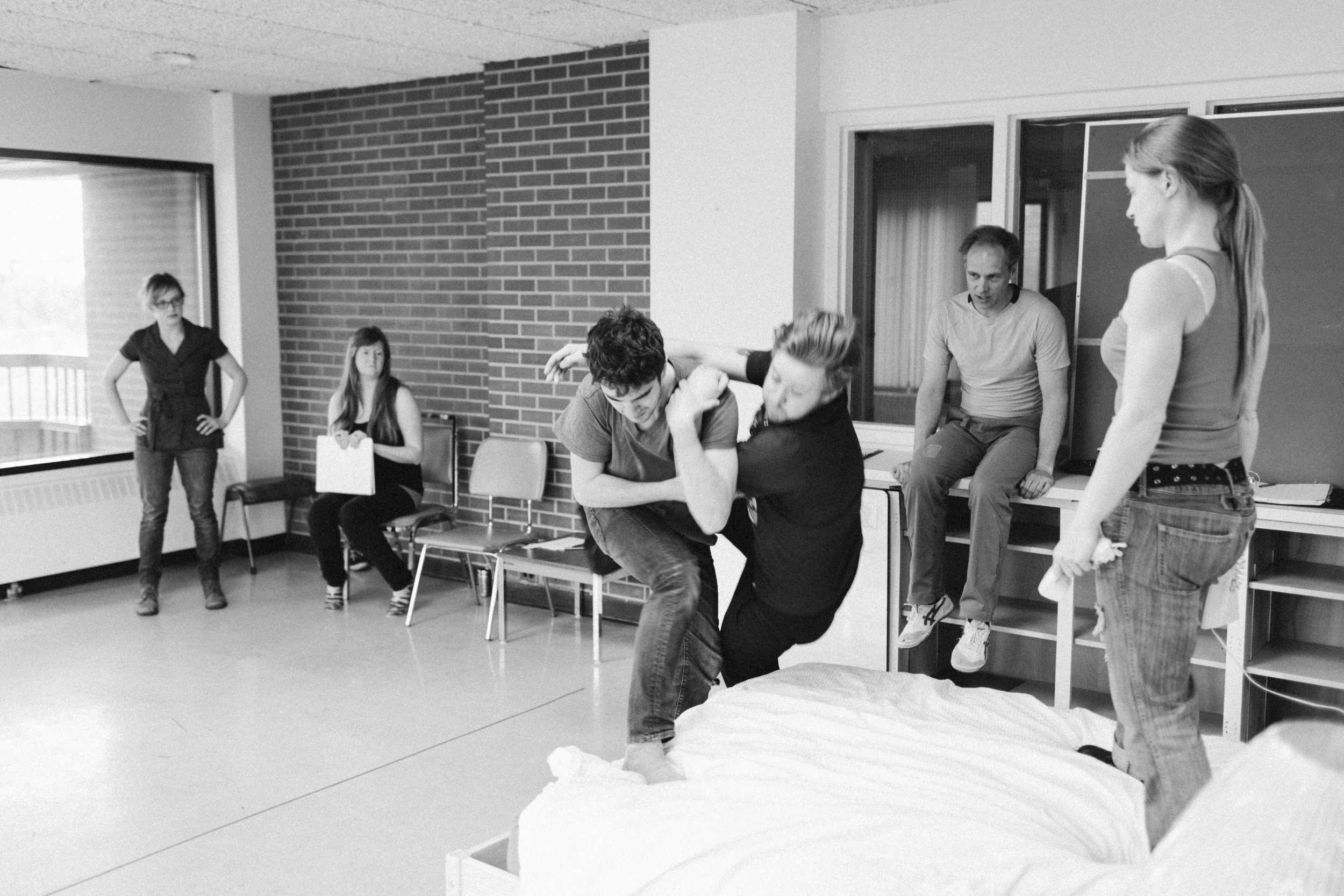 Director Liz Hobbs and Assistant Director Erin Voaklander watch over fight rehearsal led by Fight Director Patrick Howarth. Featuring actors Chris W. Cook (Michael), Oscar Derkx (Dave), and Amber Bissonnette (Loretta).