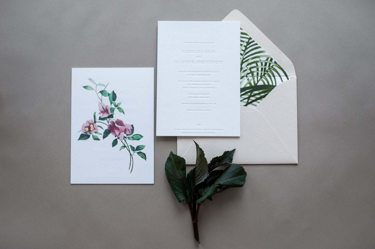 Tropical Invitation by Paper & Type, styling and photography by Emilie Anne Szabo