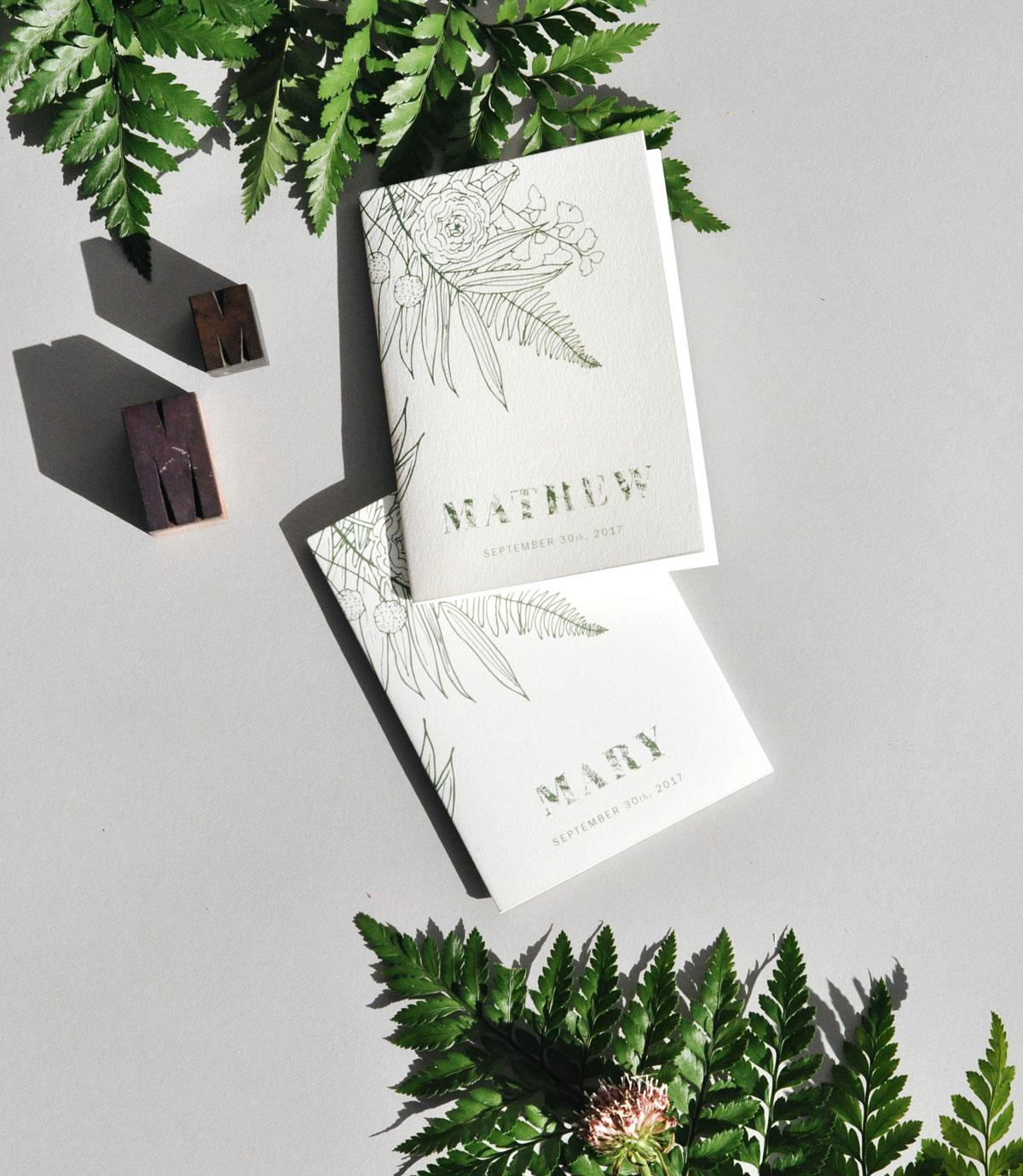 Ferns & Flowers Invitation Set / Paper & Type