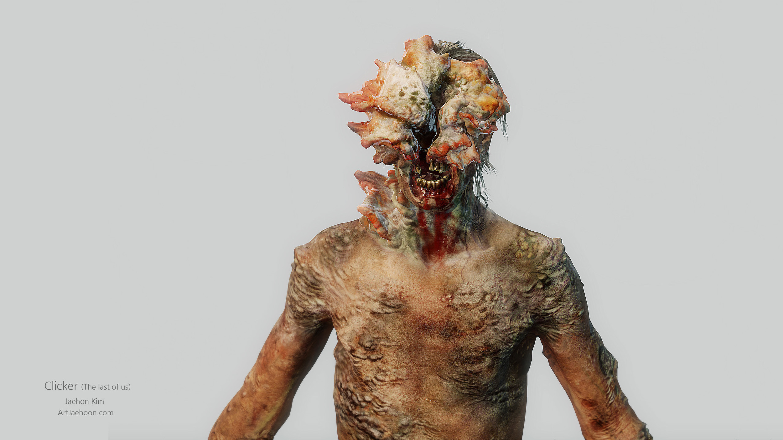 Clickers  appear less human than Runners, with faces that are skewed and scarred by fungus developed from their infected brains. Clickers are dangerous and much more aggressive than Runners, and no longer resist the fungus because their humanity has been eliminated.