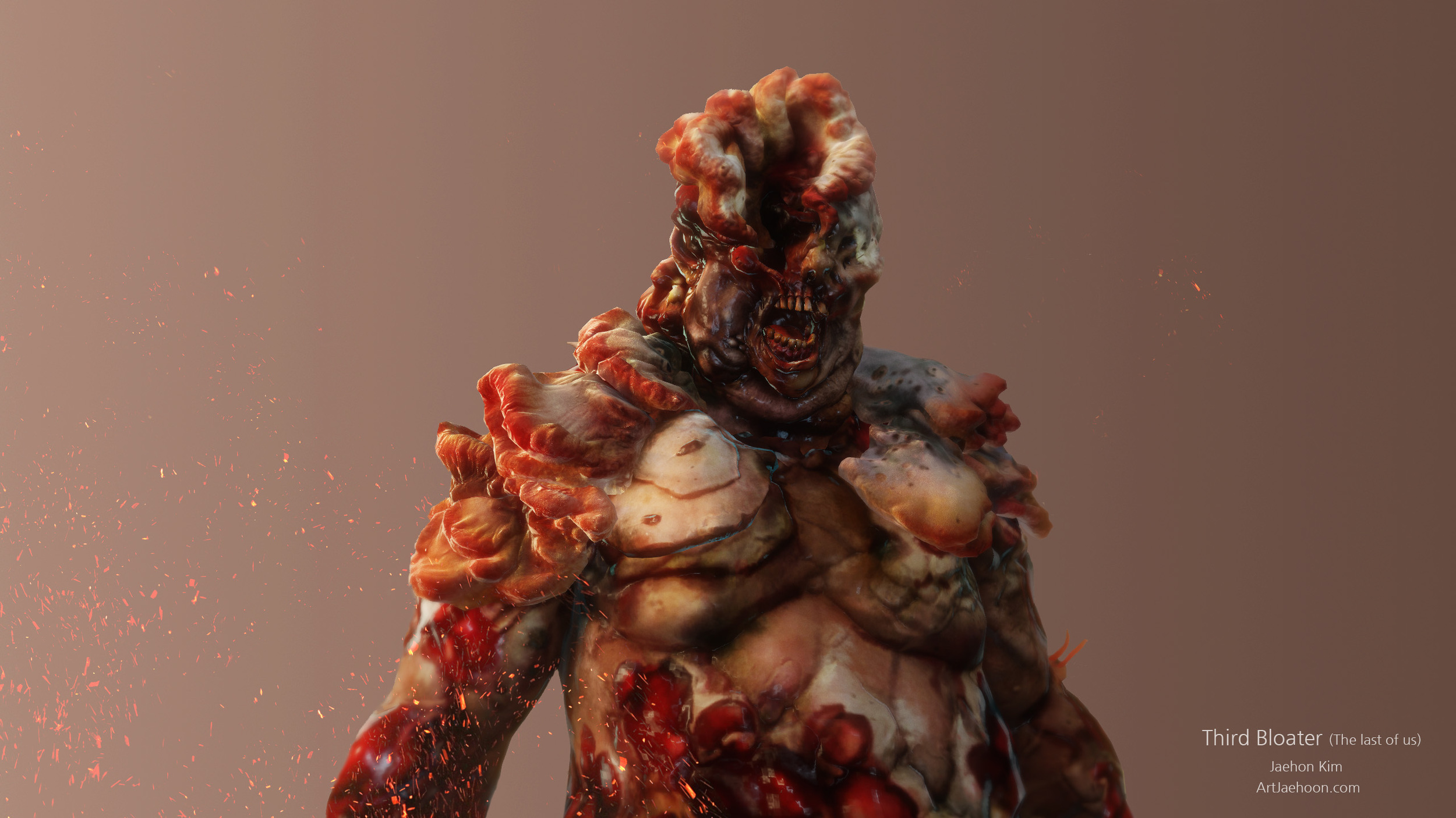 Bloaters  are the fourth, final, and most dangerous stage of the Infected and are immensely strong. Bloaters take the longest to develop, making them the rarest of the infected. They are covered in thick fungus that effectively doubles as armor plate.