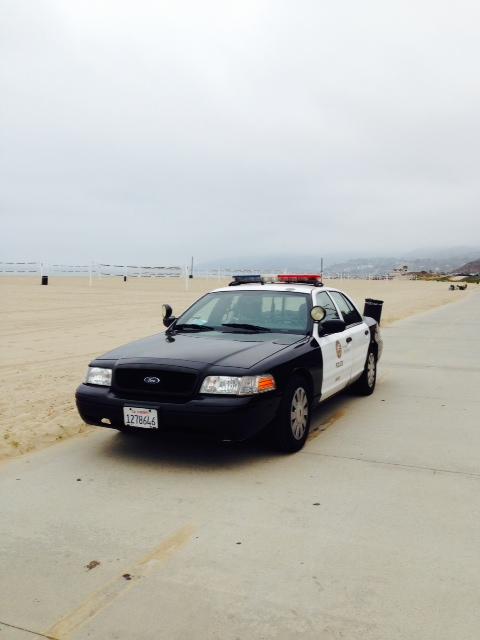 LAPD homeless unit vehicle on bike path