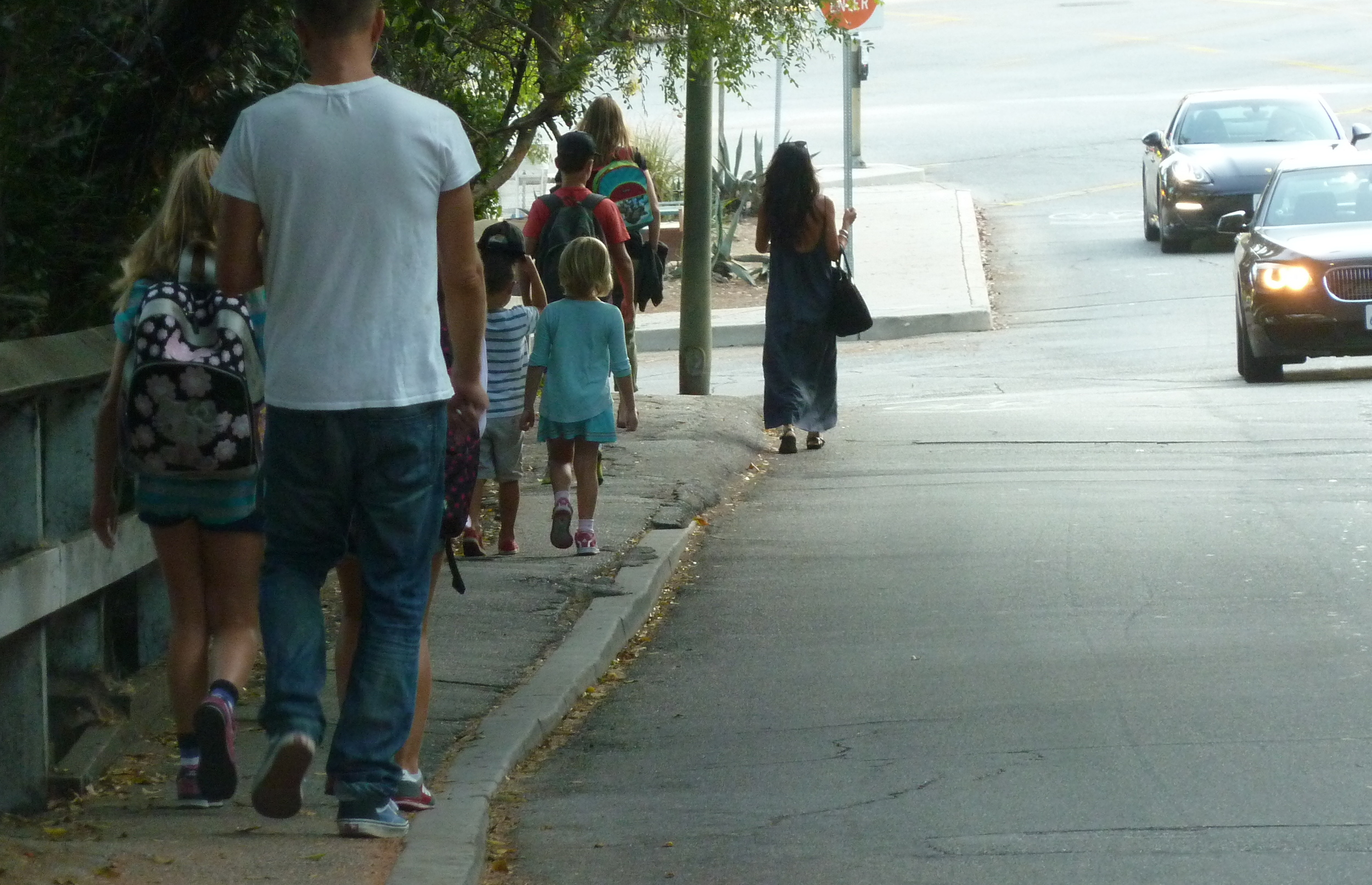 The sidewalk on Ocean Avenue Extension approaching Canyon School is narrow and unprotected