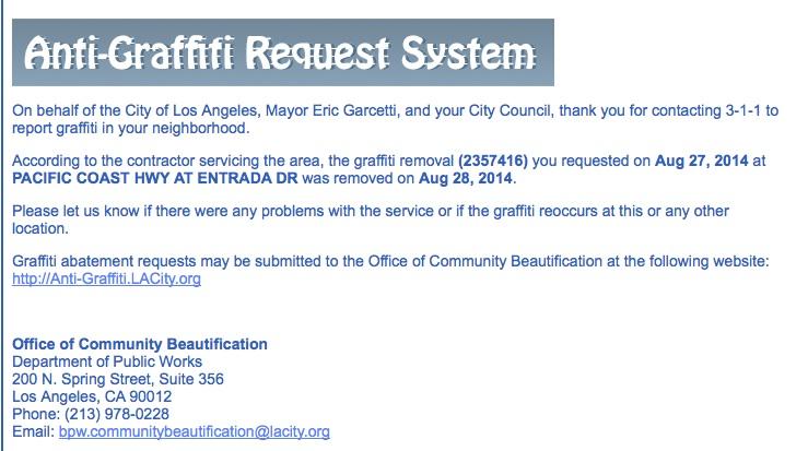City 3-1-1 anti-grafitti report