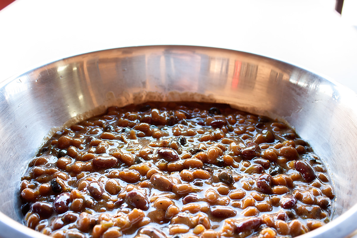 The bourbon baked beans all finished smoking.
