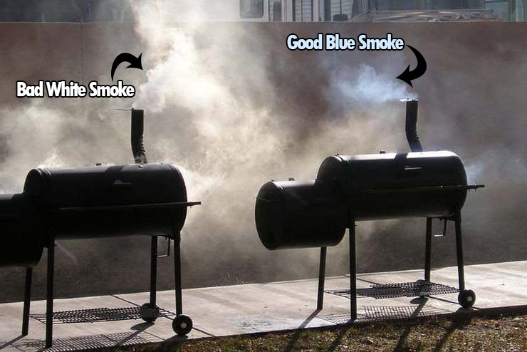 Two Smokers: one with bad dark white smoke and the other with the good pale blue smoke. Note how much more smoke there is from the smoker pumping out the white smoke.