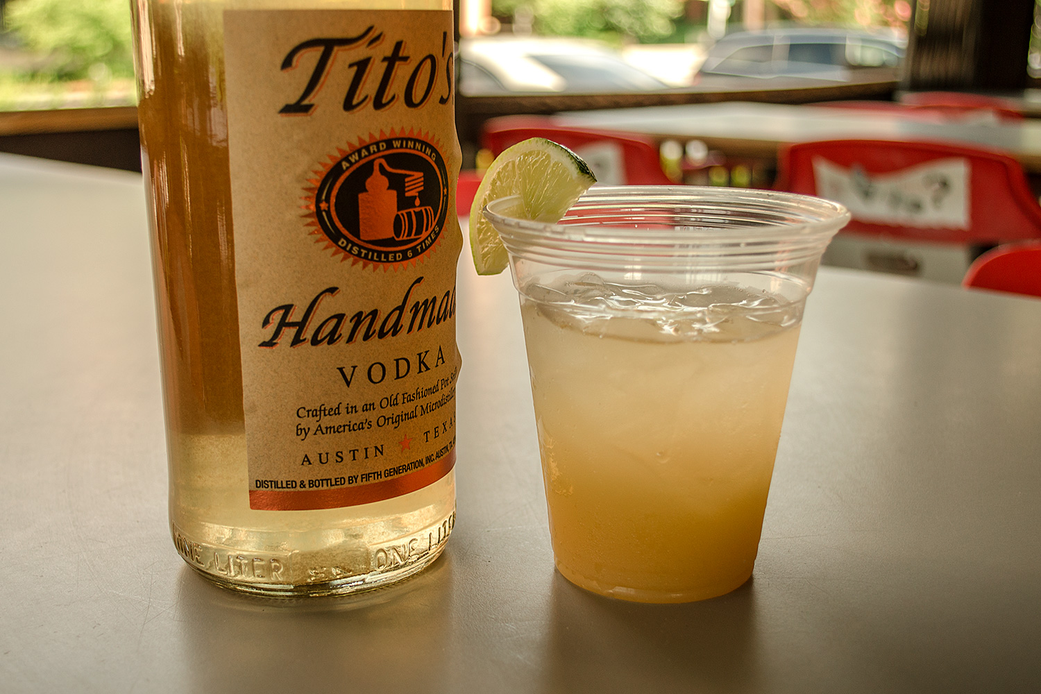 The Melon Madness: Melon infused Tito's with a splash of pineapple & a squeeze of lime.
