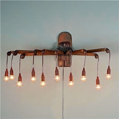 REPURPOSED WOODEN DRYING RACK SCONCE