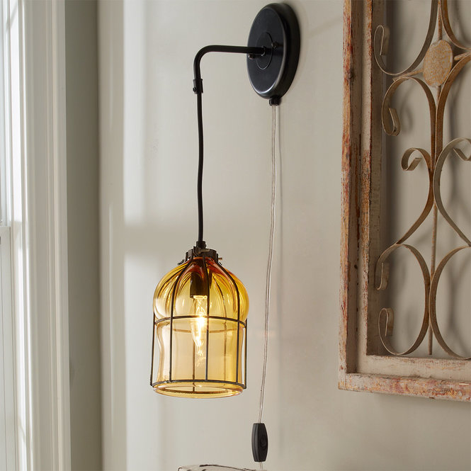 HAND BLOWN GLASS CAGE SCONCE