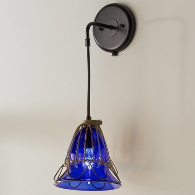 UMANOFF HAND BLOWN GLASS CAGE FLOWER SCONCE