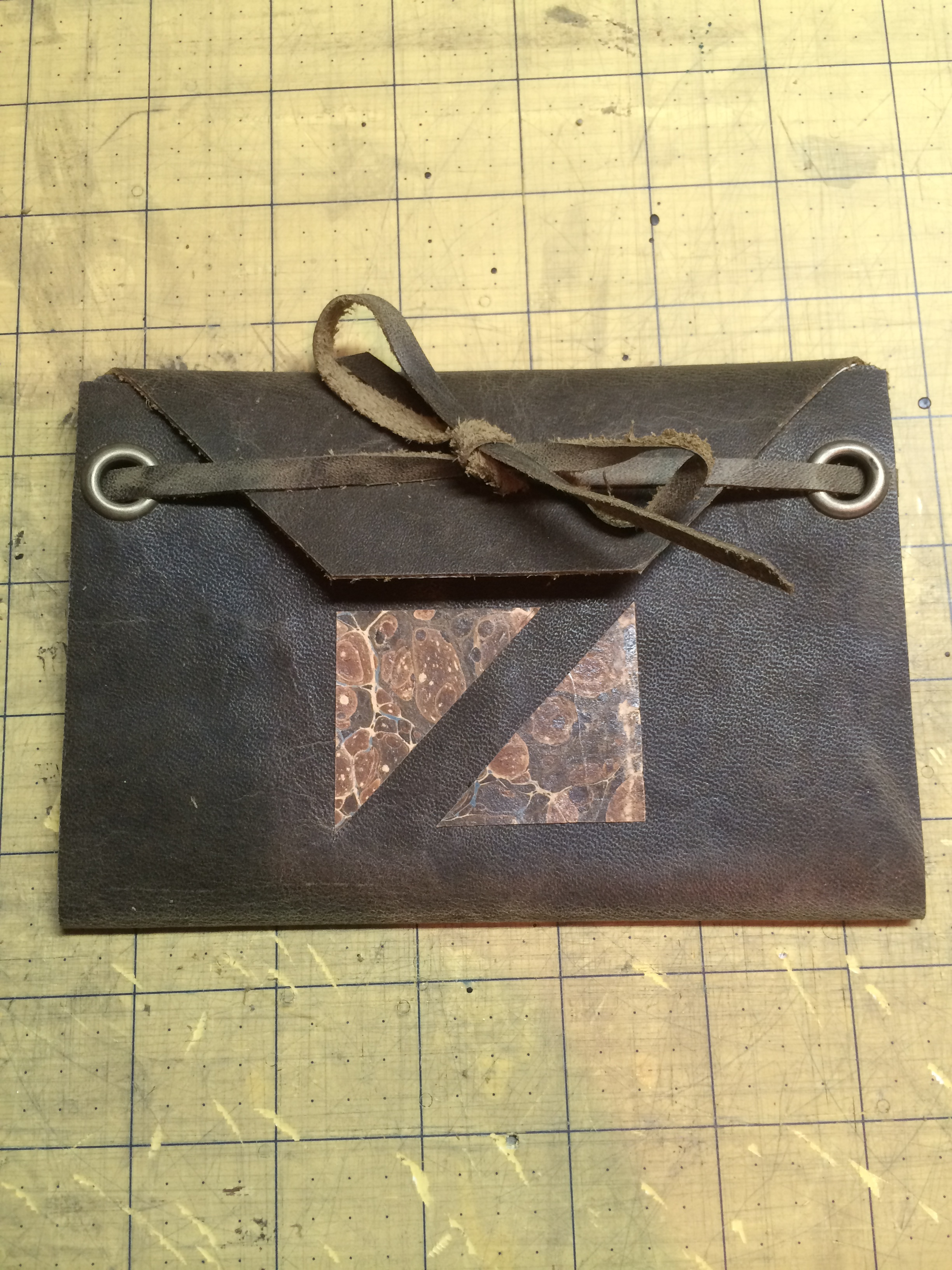 Brown Leather Card with Vintage Paper
