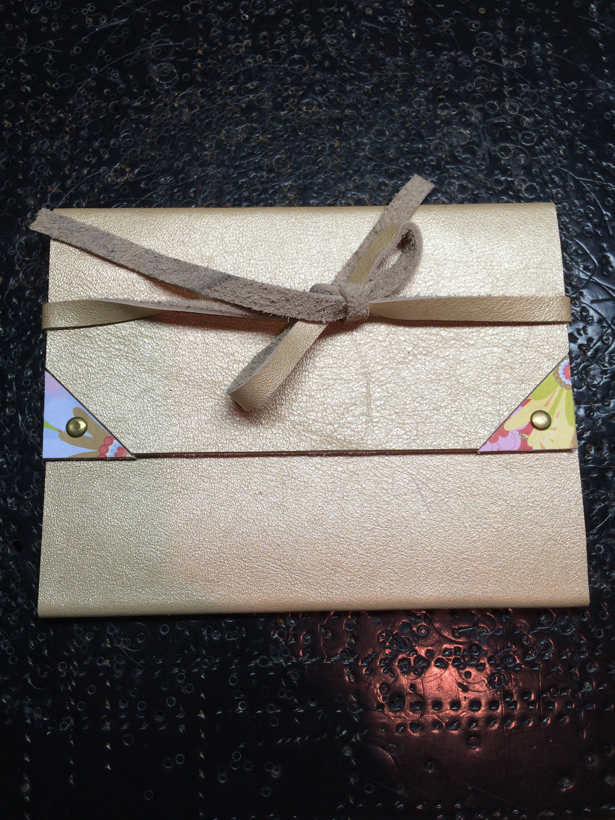 Gold Leather Card with Floral Paper