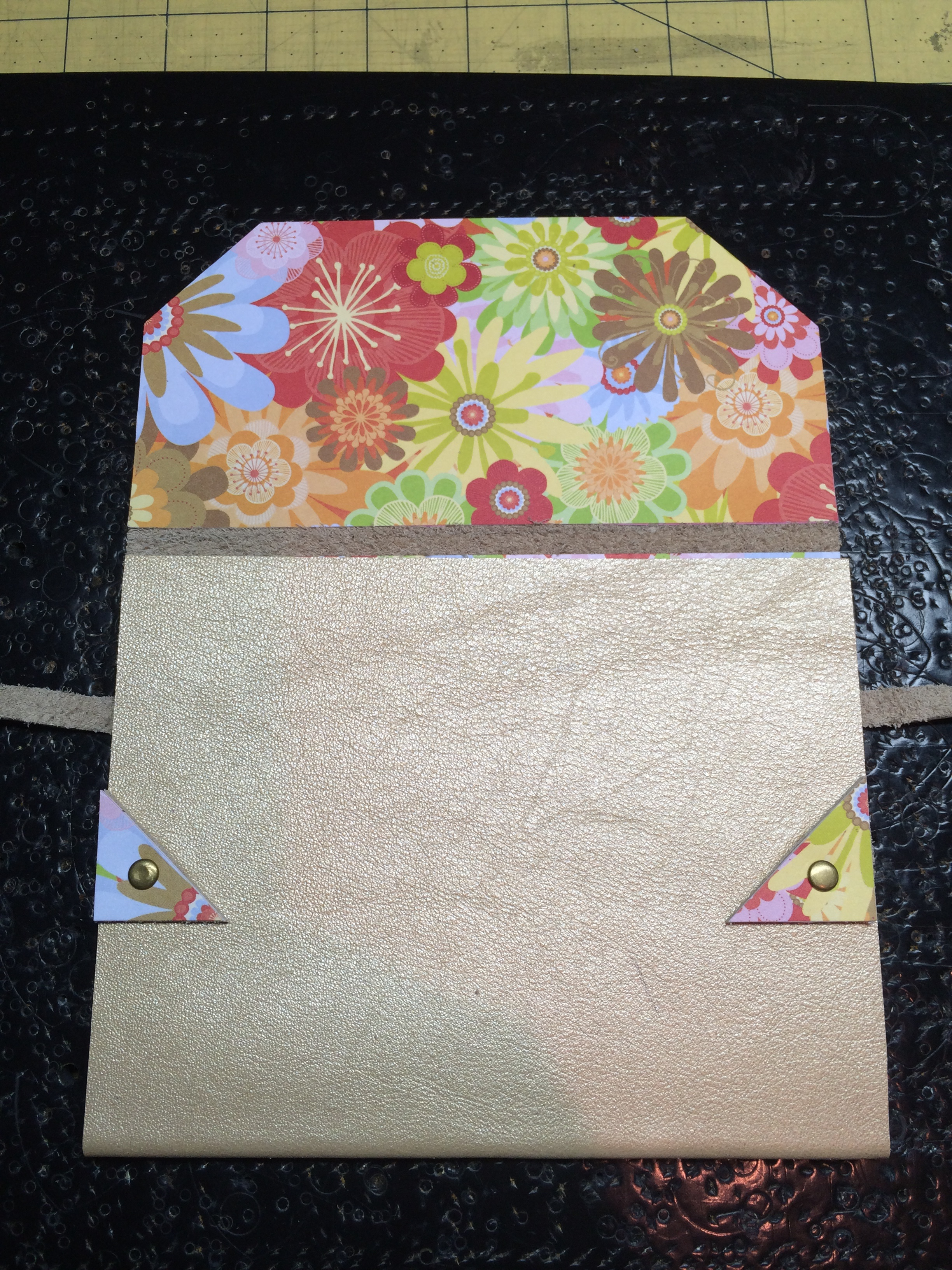 Gold Leather Card with floral flap
