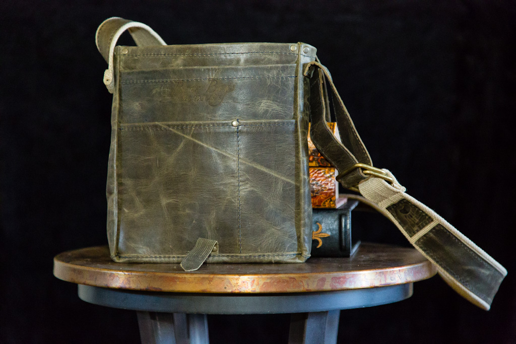Military style iPad tote with flap opened