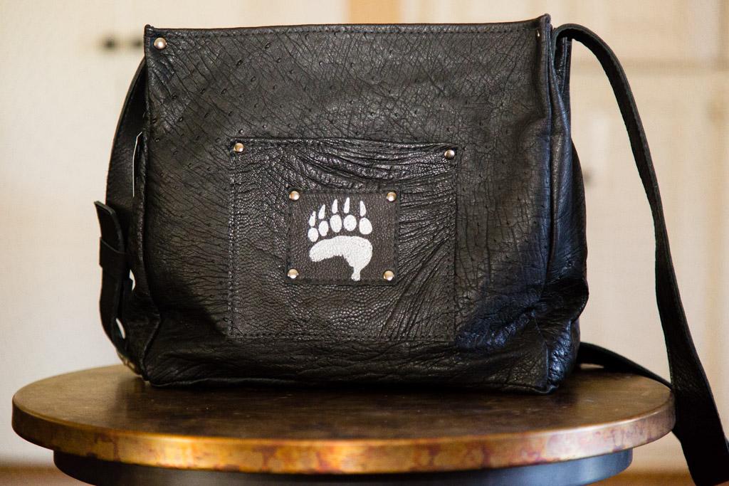 Ostrich Messenger Bag-flap opened