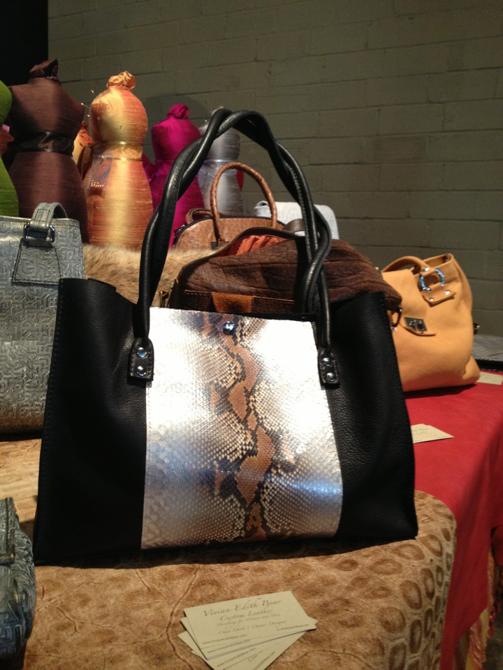 Handbag with Python skin panel