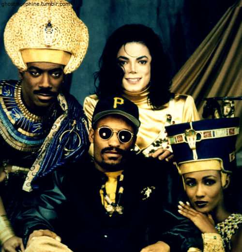 On set, Eddie Murphey, John Singleton, MJ and Iman.