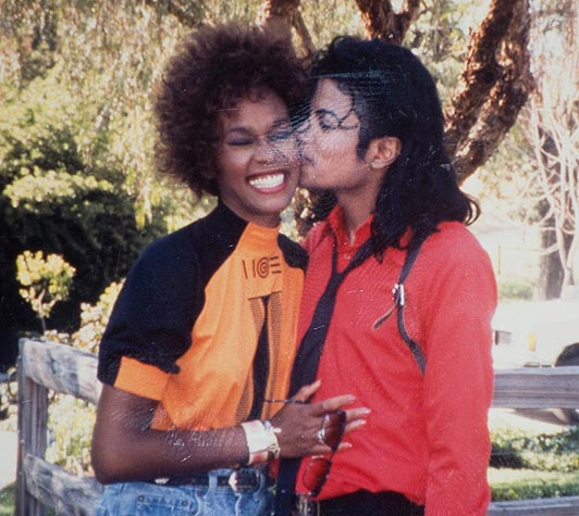 A kiss from MJ to Whitney Houston.