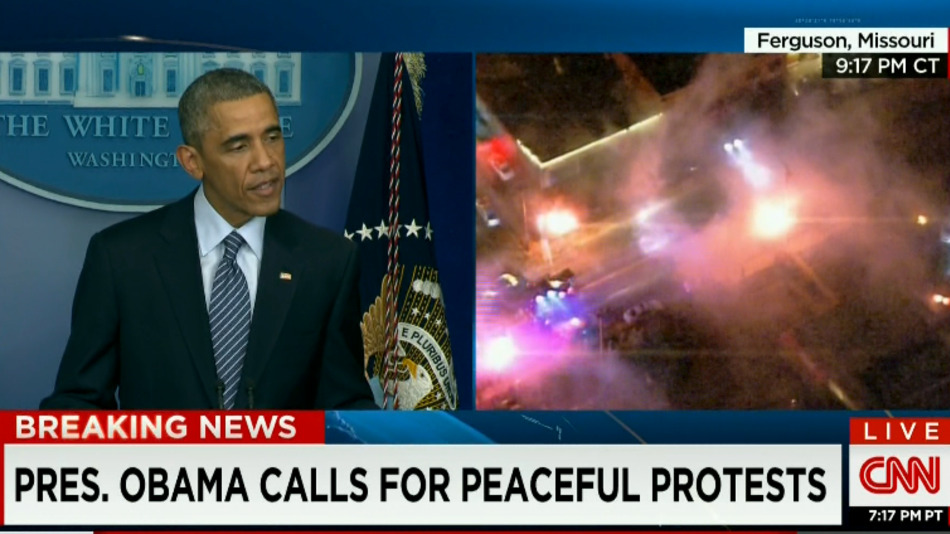 A screengrab from Obama's live comments on Ferguson and the simultaneous scene from the city.