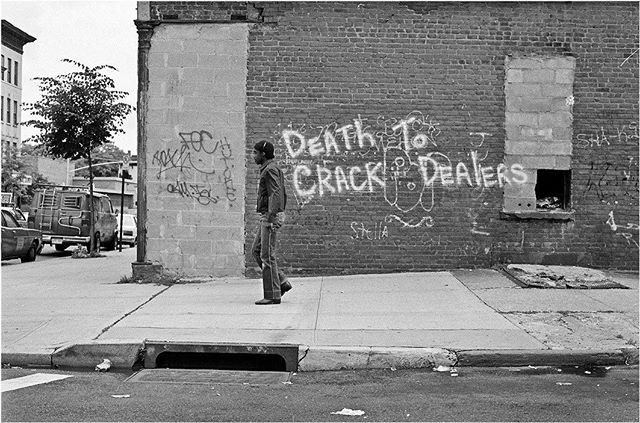During their terms in the White House, both Ronald Reagan and George HW Bush proposed legislation to expand the federal death penalty to include drug offenses.  Photo by Matt Weber circa 1989 #whencrackwasking #brooklyn #80s #nyc #drugs #crack