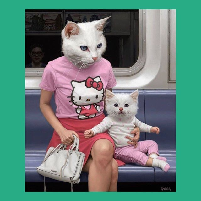 We're always thinking of new ways to stay lively on stuffy commutes. Maybe not great if you're allergic. Or easily scared 😜 by @grabelsky . . . . #commuterlife #commuter #hellokittymania #oilpaints #fineartpainting #realisticart #contemporarypainter #contemporaryrealism #theunderground