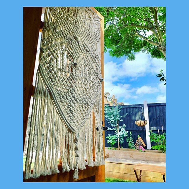 A little freestyle macrame project by @charlottevidastow hanging in the sun when she's not staring at her laptop 💚 . . . . #macrameart #macramemakers #wallhangings #fibreart #textileart