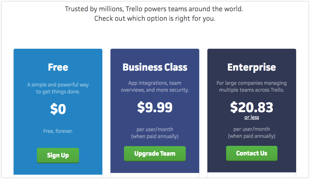 pricing psychology - Trello pricing options.png