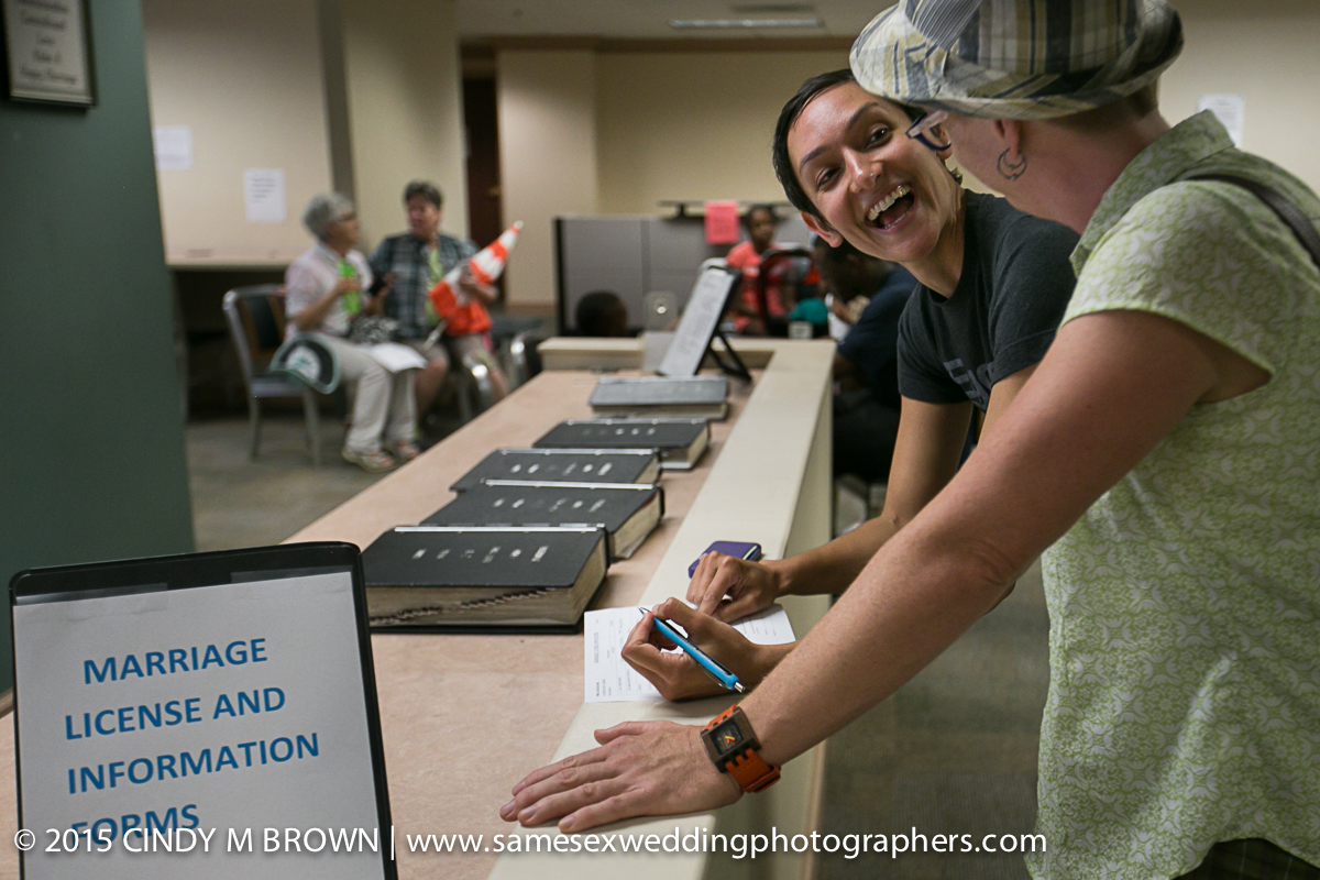 Laura and Catherine applying for a marriage license.