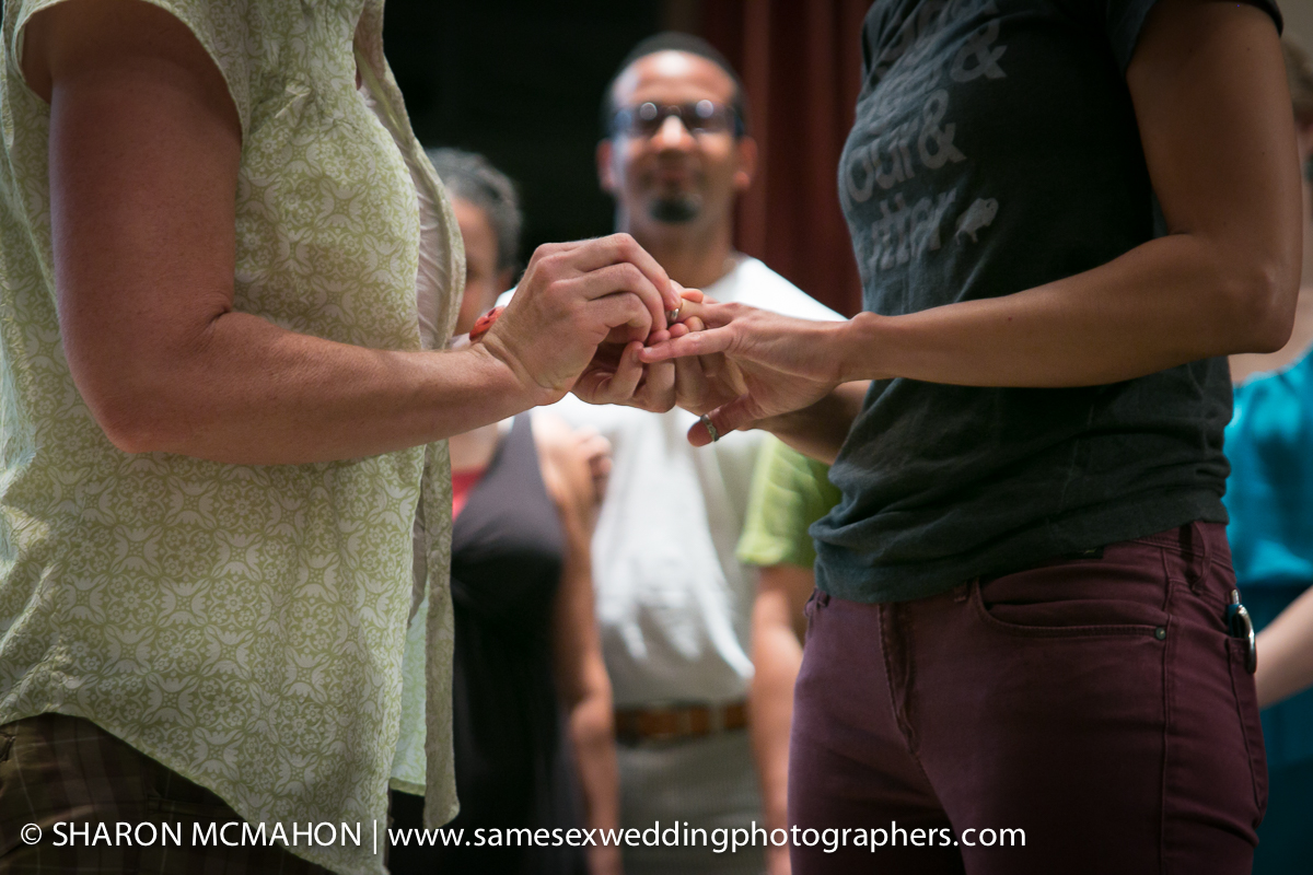 Exchanging rings at their wedding.