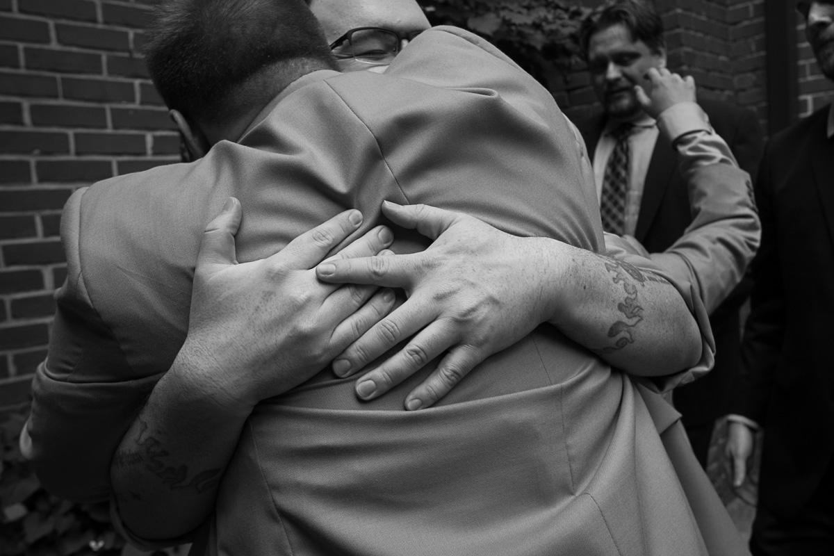 lgbt weddinig hug