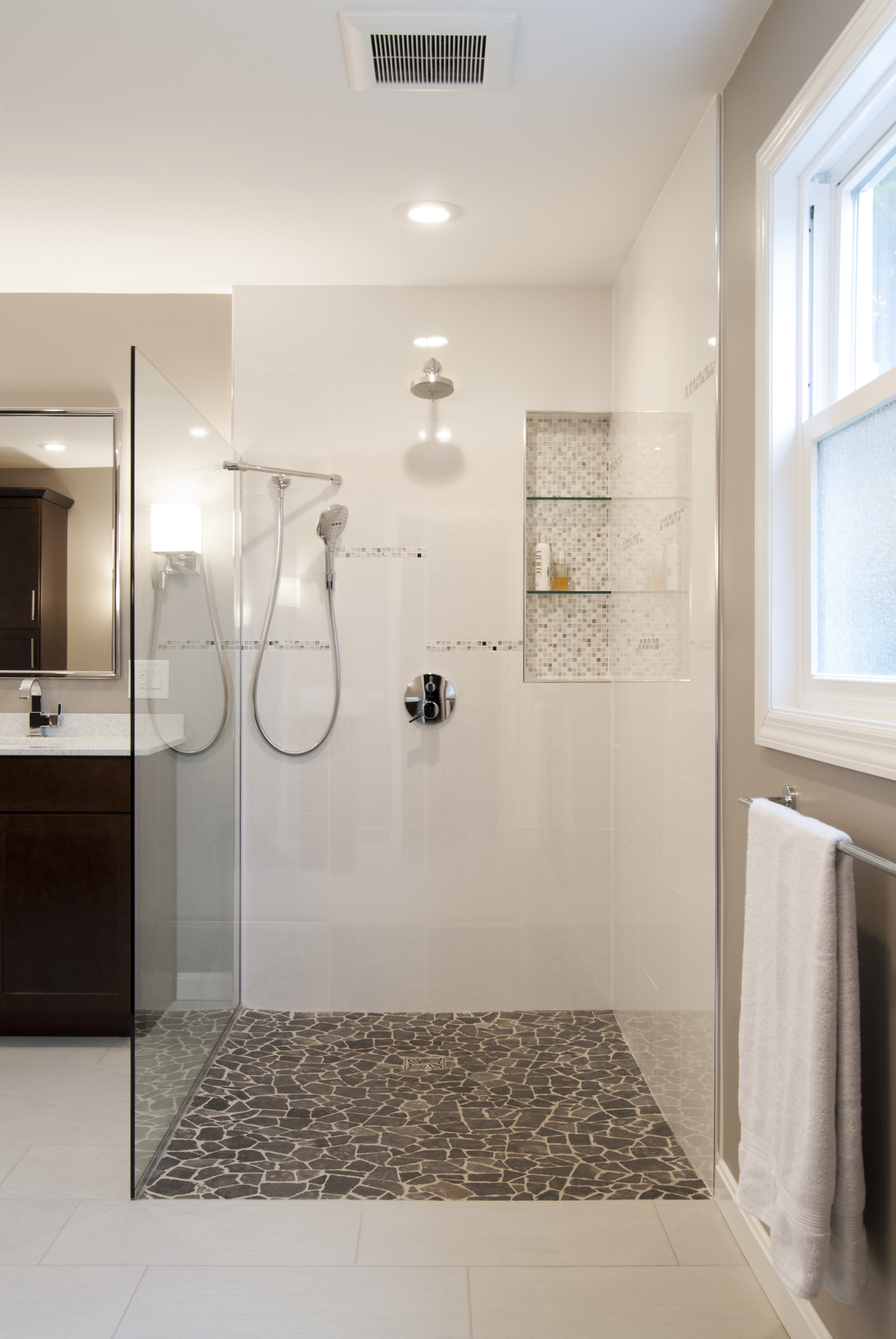 Large accessible open shower