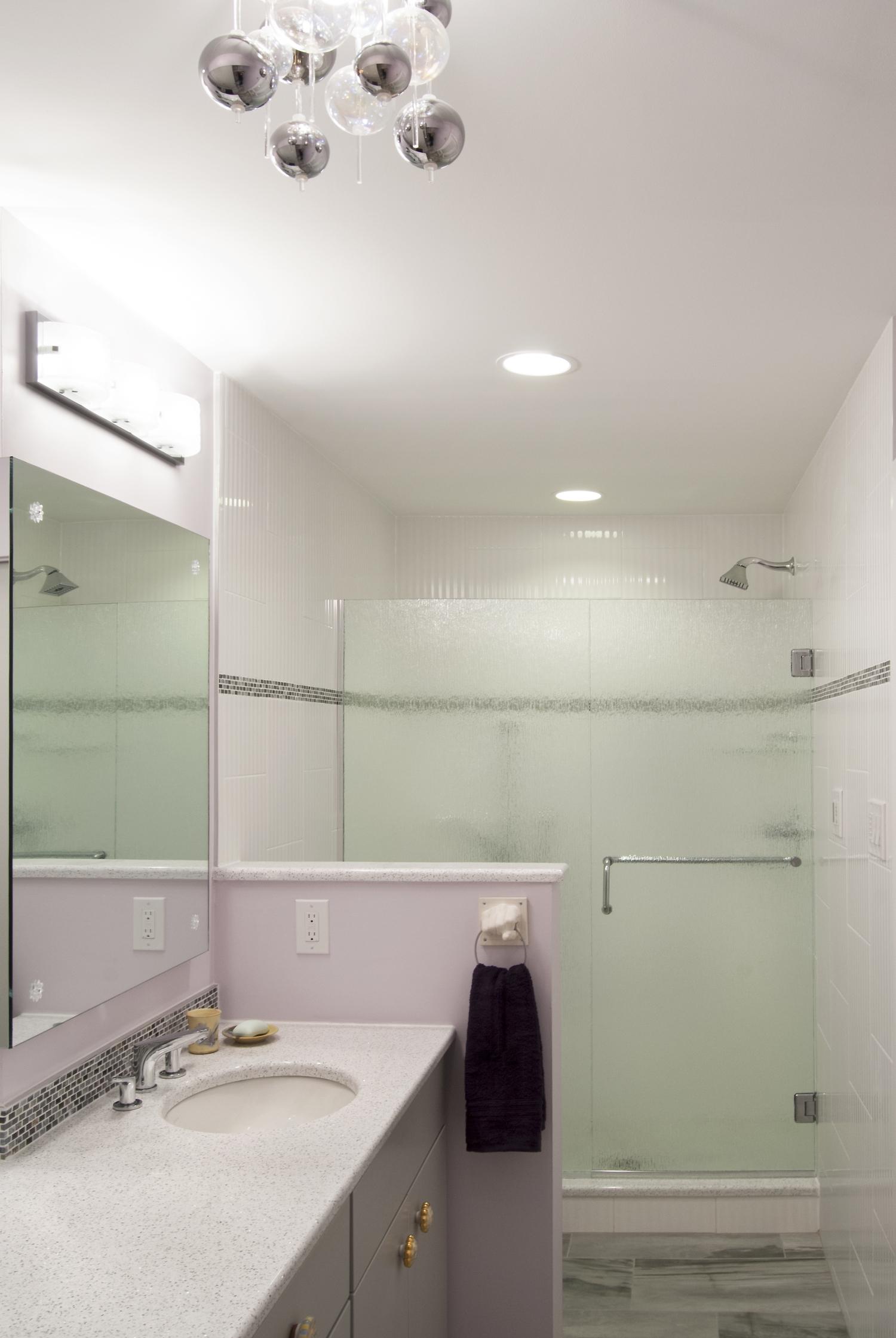 White tiled shower