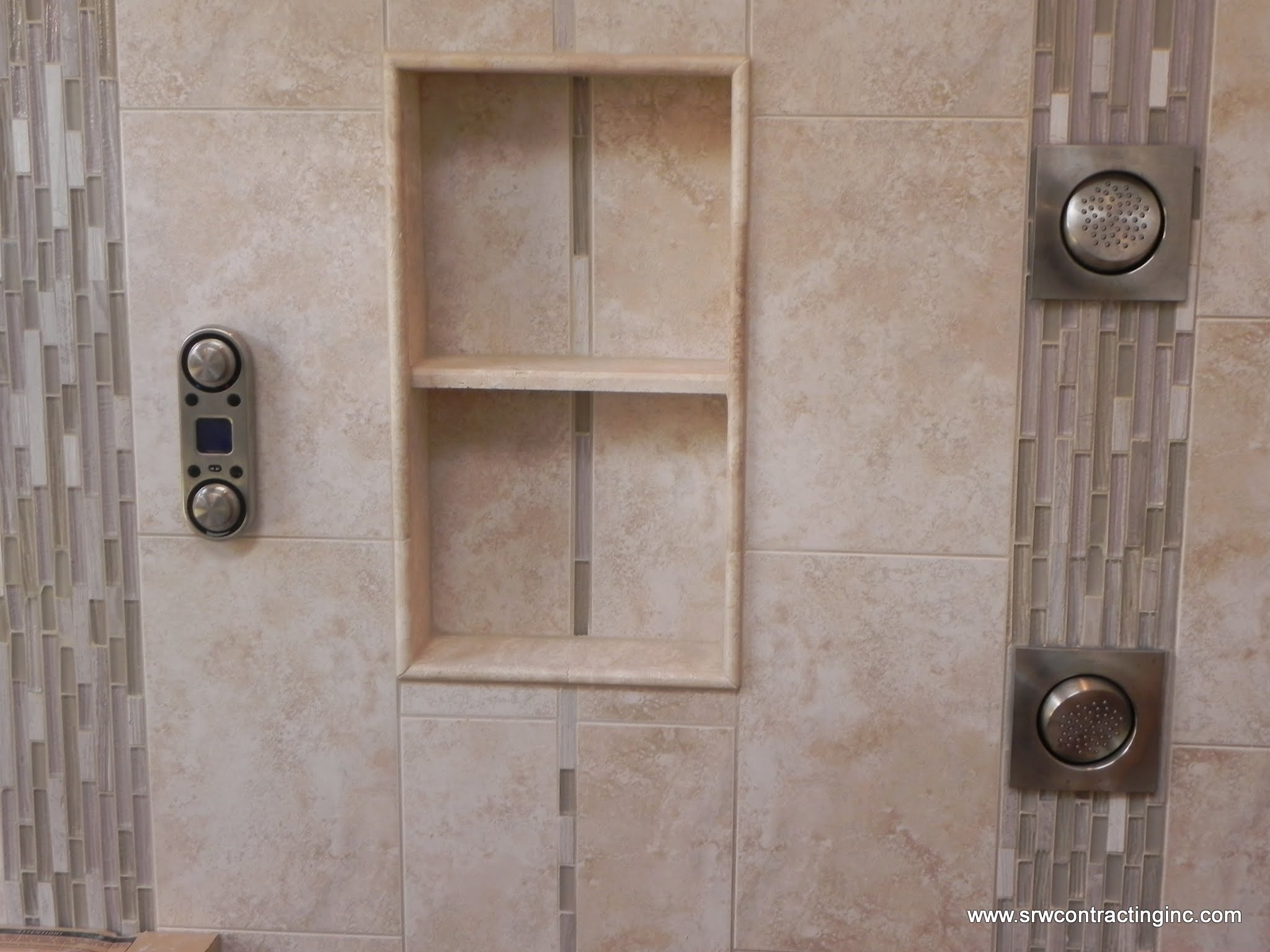 """14"""" x 24"""" recessed niche; using a travertine shelf and pencil trim pieces to finish edging"""
