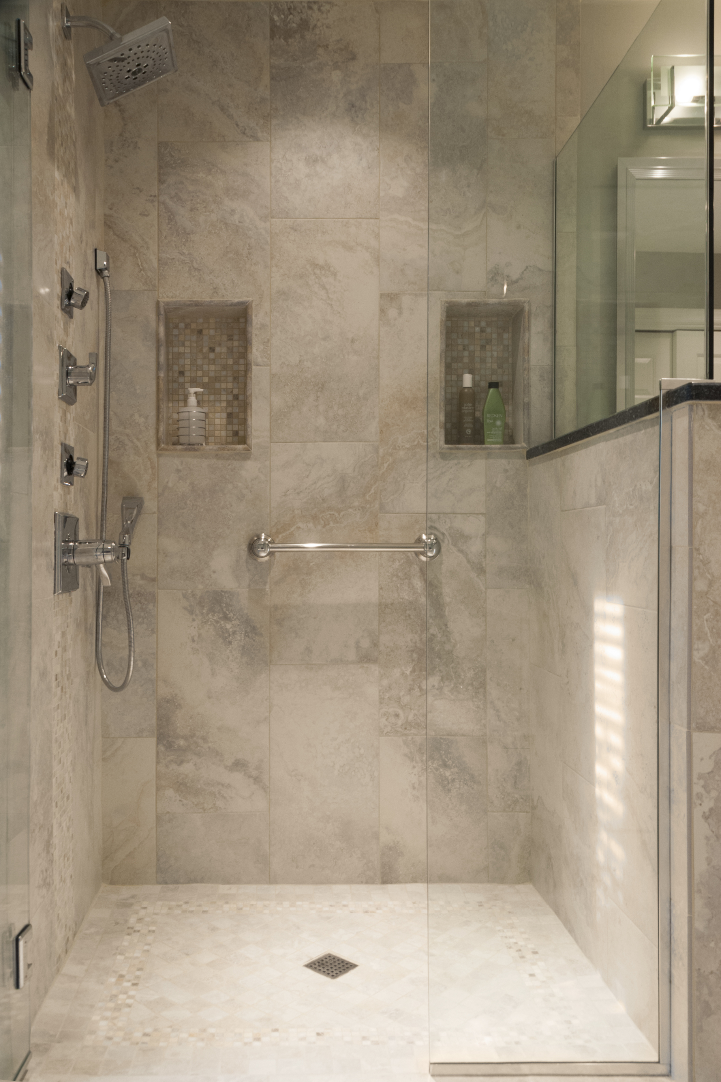 his and her shower niches