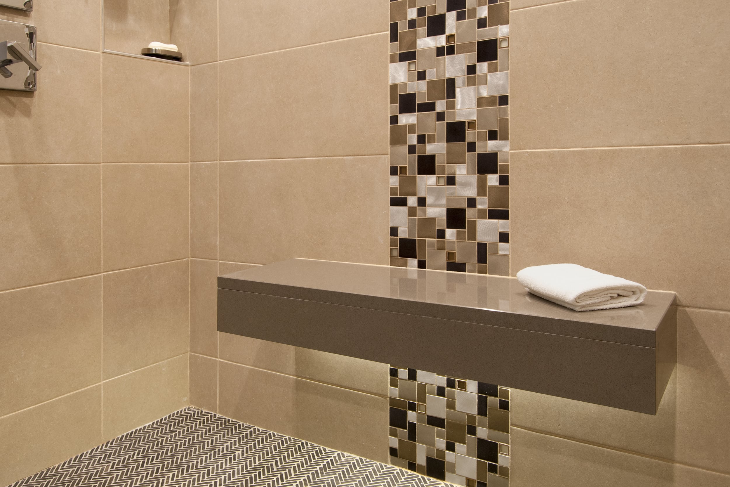 Floating shower bench with lighting accent