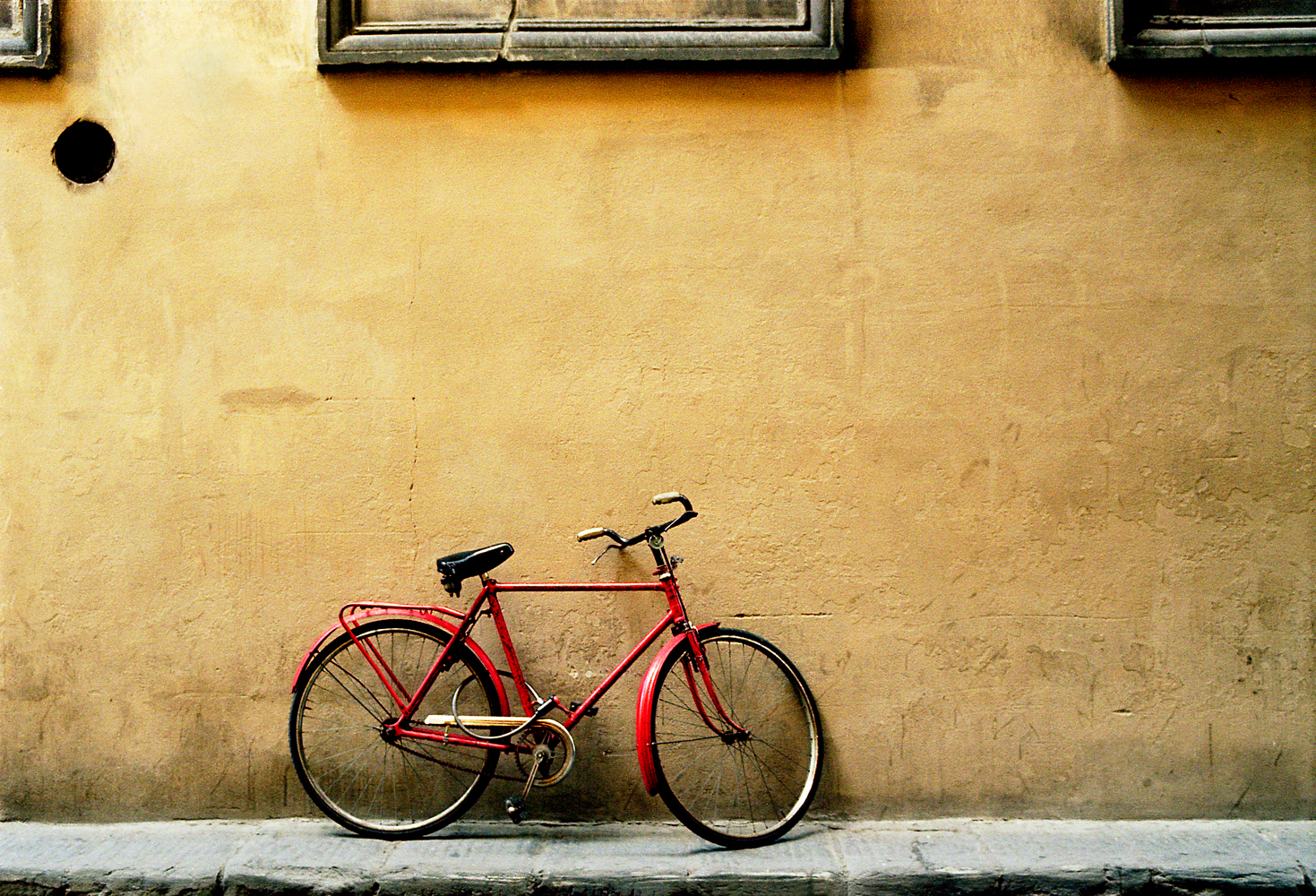 Red Bicycle Bare Wall
