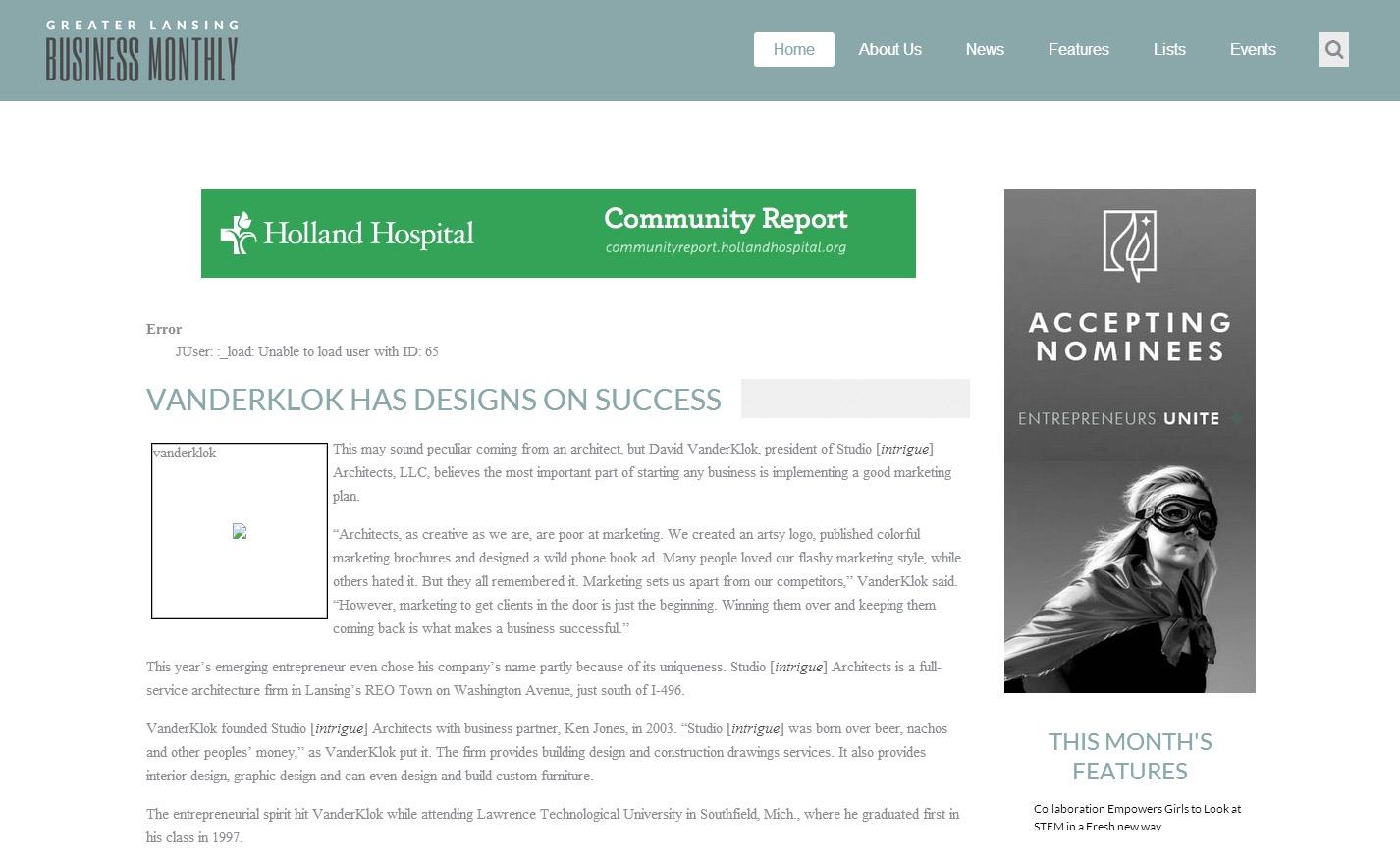 Vanderklok has designs on success.jpg