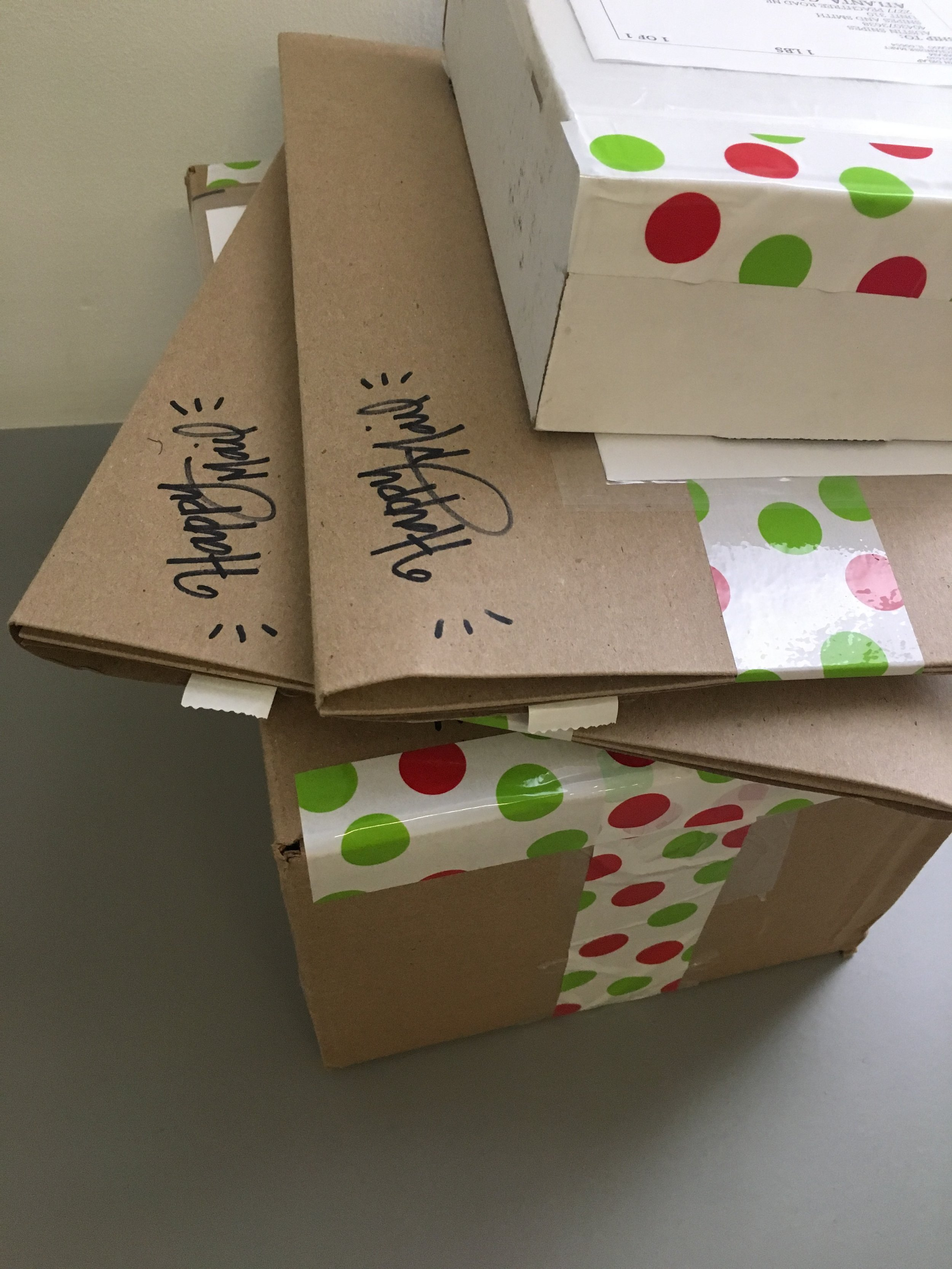 Packages all ready to go. Hope the recipients enjoy opening as much as I enjoy sending!