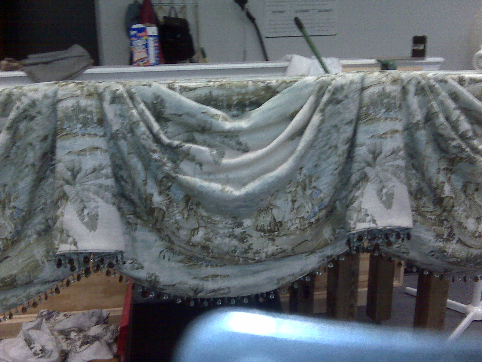 - made up into this swagged and pleated valance