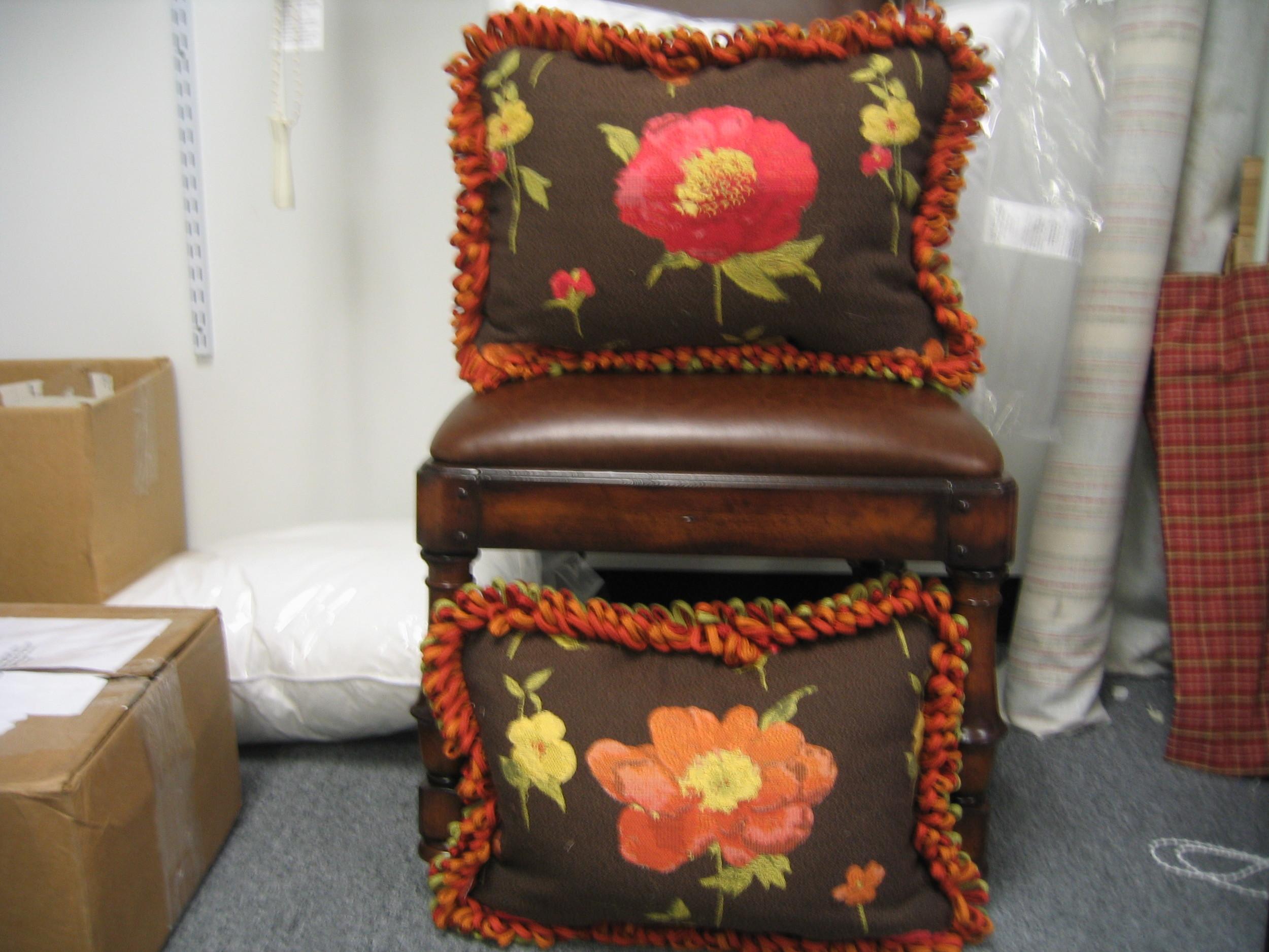 Reversible pillows w/flat braid loop fringe