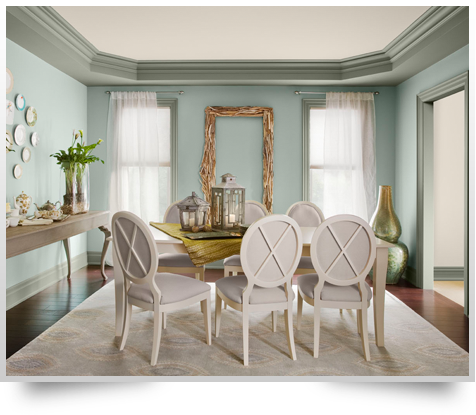 Here you can see Benjamin Moore's Color of the Year: Wythe Blue.